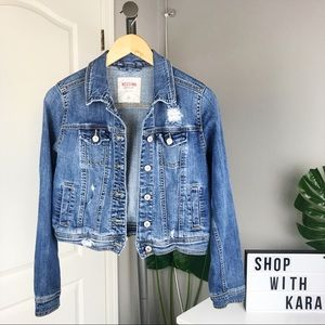 Mossimo Blue Distressed Cropped Denim Jacket XS